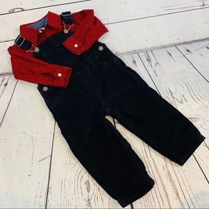 24M Carter's overalls and red plaid shirt